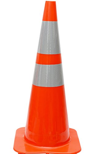 """(Set of 6) CJ Safety 28"""" Orange PVC Traffic Safety Cones with 6"""" & 4"""" Reflective Collars (6 Cones)"""