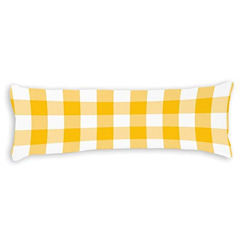 Modern Country Gingham Check Pattern Ultra Soft Microfiber Long Body Pillow Cover Pillowcases with Hidden Zipper Closure for Kids Adults Pregnant Women, 20' x 54'