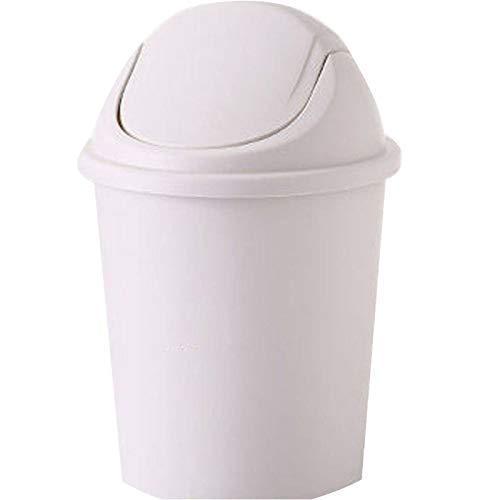 HHTX Swing med lock rund soptunna, skräp återvinning avfallskorg tryckring tätning antilukt lämplig för sovrum badrum hem – 12 l (köp stort att skicka liten) – pärlvit