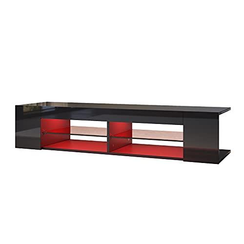 SONNI Mueble TV 130cm Negro Brillo,Mesa TV Salón con LED Luz Adjustable 135x39x30cm