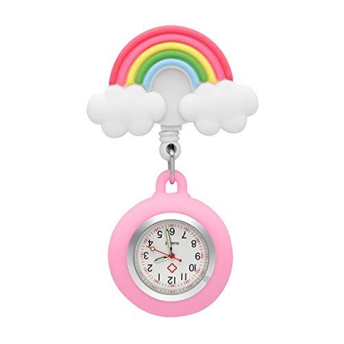 JSDDE Uhren Krankenschwesteruhr Set Pulsuhr FOB Uhr Pflegeruhr Regenbogen Muster Schwesternuhr Ansteckuhr Zeiger mit Leuchtend Brosche Taschenuhr Analoge Quarzuhr (Rosa)