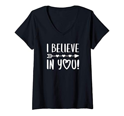 Womens I Believe In You T-Shirt Teacher Testing Day Gift Shirt V-Neck T-Shirt