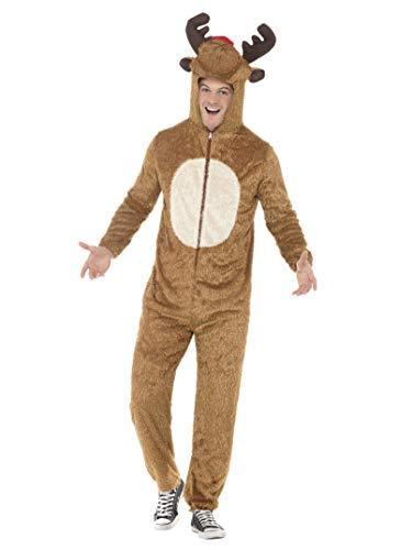 Smiffys, Herren Rentier Kostüm, Jumpsuit mit Kapuze, Größe: L, 31668
