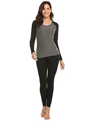 Ekouaer Women's Thermal Underwear Long John Set Fleece Lined Base Layer Top & Bottom (Black,X-Large)