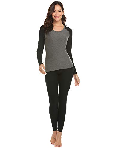 Ekouaer Fleece Lined Long Johns Thermal Underwear Set Warm Henley Base Layer Top & Bottom (Black,Small)