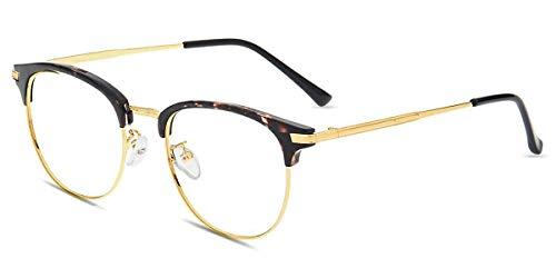 Firmoo Computer Brille mit Blaulichtfilter ohne Sehstärke Damen Herren, Anti Blaulicht Brille Entspiegelt Anti Müdigkeit Kopfschmerzen, Blaulicht UV Schutzbrille Browline Brille Leopard-Gold