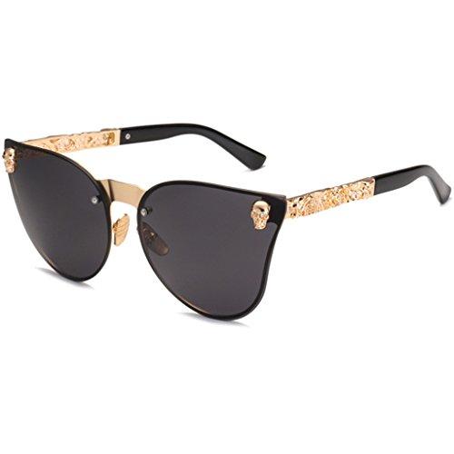 YU-HELLO _Skull - Gafas de sol para mujer, diseño de ojo de gato, estilo vintage, de gran tamaño, sin montura