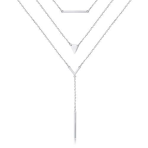 DAOCHONG Collar de capas para mujer, cadena multicapa de plata de ley, collar de gargantilla para mujer