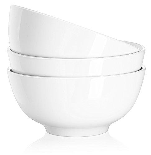 DOWAN Salatschüssel Set, Servierschüssel, Servierschale, Suppenschüsseln Porzellan 1150ml, DM 17,8 cm, Weiß, 3er Set