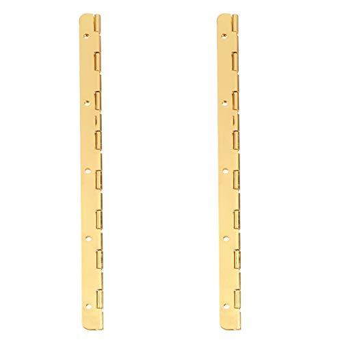 Angoily Bisagra de caja de madera 2 piezas con agujeros 190 mm bisagra continua plegable armario puerta armario bisagra armario largo muebles Hardware dorado