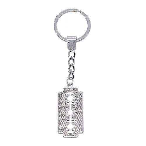 TOBENOI Kreative Strass Rasierklinge Schlüsselbund Persönlichkeit Metall Schlüsselring Autotasche Schlüsselbund Anhänger Charm Zubehör