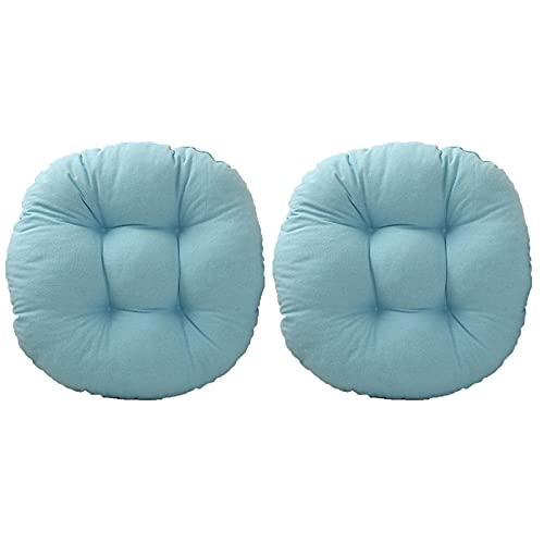 Sitzpolster für Esszimmerstühle, rund, bequem, dick, für drinnen und draußen, Garten, Terrasse, Wohnzimmer, Küche, Büro, 40 × 40 cm (2 Stück, blau)