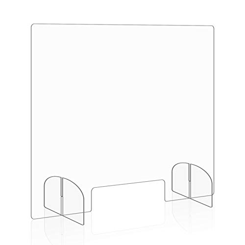 Sneeze Guard, Plexiglass Shield for Counter 32'x 24' Protective Freestanding Shield Guards Against Sneezing and Coughing with Transaction Window for Business, Office, Store