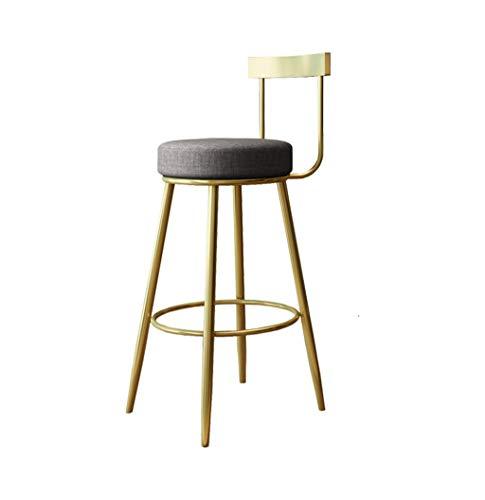 C-J-Xin stof hoge kruk, met rugleuning gouden smeedijzeren bracket kleine kruk bioscoop restaurant dranken winkel dining stoel decoratieve kruk