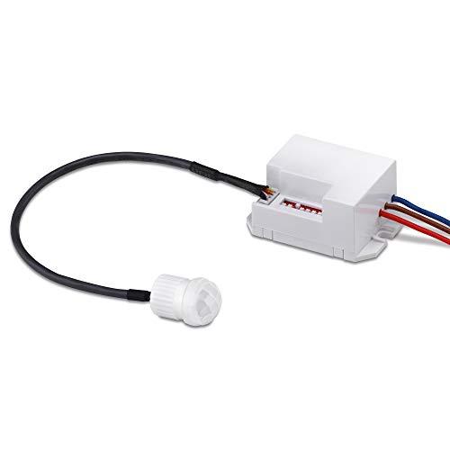 conecto Infrarot Bewegungsmelder Einbau innen Unterputz mini klein fast unsichtbar LED 360° Lichtsteuerung IP20 Dämmerungssensor (1 Stück), weiß