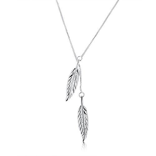 Collar con colgante de doble pluma para mujer, accesorios de joyería