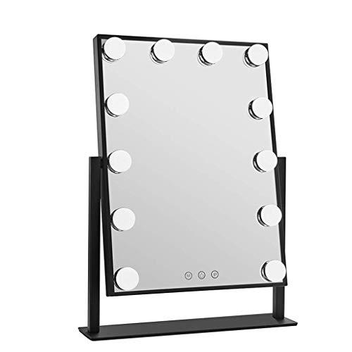 ZXC Home Maquillage Miroir Accueil Chambre Verre Bureau LED avec la lumière Ampoule Miroir de Maquillage Accueil de Bureau Outils de Maquillage, 2 Couleurs en Option (Color : Black, Size : 9 Bulb)
