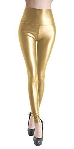 Dames Kunstleer Hoge Wetlook Leggings Taille Skinny Pant Panty Treggins Leggings Faux Lederen Leggings Lederen look