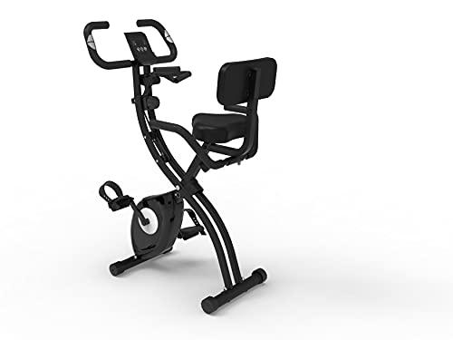 BluMill Bicicleta estática plegable de XBike, con sensores en el manillar y pantalla