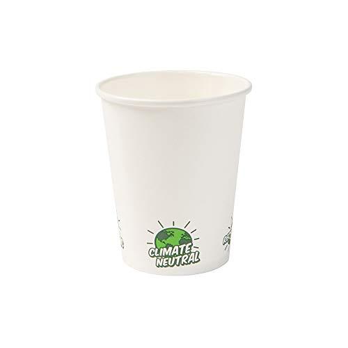 BIOZOYG Recycelbare Pappbecher Kaffee weiß mit EcoUp© Icon und PLA Beschichtung I 50 Coffee to go Einwegbecher biologisch abbaubar 200 ml 8 oz I Kaffeebecher Trinkbecher Einmalbecher