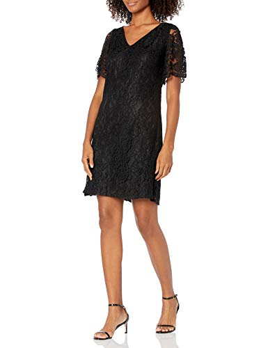 Chaps Women's Lace Fit-and-Flare Dress, Black, 12
