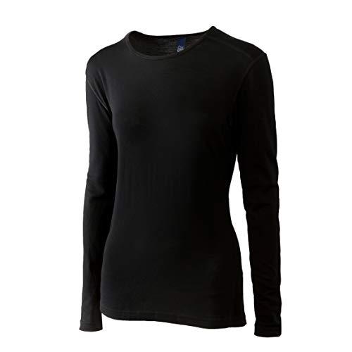 Merino Wool Women's Long Sleeve Top | Crew Neck Shirt- Lightweight, Moisture Wicking - Top Base Layer | 100% Australian Merino Wool (Large, Black)