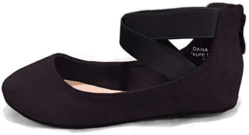 ANNA Girl Kids Dress Ballet Flat Elastic Ankle Strap Faux Suede Shoes Black 9