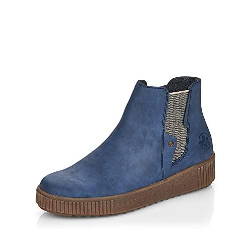 Rieker DAMES Enkellaarzen Y6461, Vrouwen Chelsea Laarzen,laarzen,halve laarzen,bootie,sliplaars,plat,Blauw (blau / 14),42 EU / 8 UK