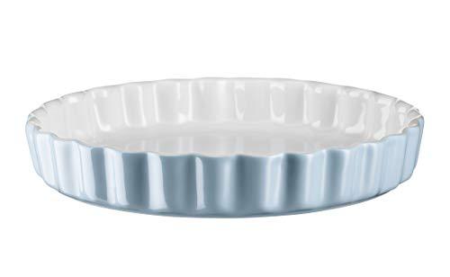 Mäser 931141 Serie Kitchen Time, Tarteform, Quicheform, runde Backform, kratz- und schnittfest, Ø 27 cm, Keramik, Blau