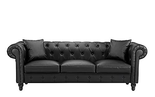 BHDesign Lina Chesterfield - Sofá de 3 plazas, piel sintética, color negro