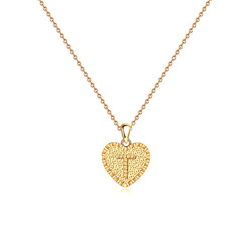 Tiny Initial Necklace for Daughter Gifts - 14K Gold Filled Dainty Letter T Initial Necklaces Tiny Heart Pendant Alphabets Monogram Necklaces 16 18 20 21th Birthday Jewelry Gifts Ideas for Teen Girls