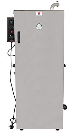 Beeketal 'BDSH-S03L' elektrischer Edelstahl Räucherofen mit Wärmedämmung, 8 Böden und Thermostat (30-135°C), Profi Räucherschrank komplett aus Edelstahl mit Fettauffangschale und Gewürzschublade