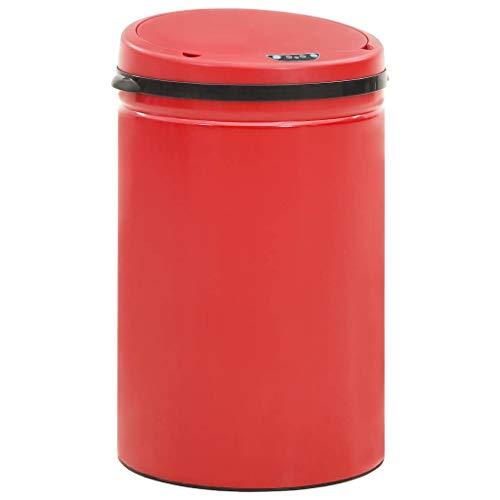 vidaXL Cubo de Basura con Sensor Automático Papelera Reciclaje Barurero Contenedor Baño Cocina Sala de Estar Salón Oficina 30 L Acero al Carbono Rojo