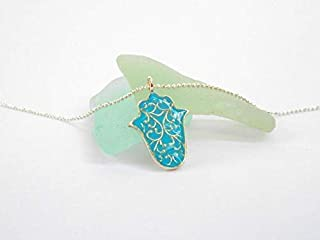 Dainty Hamsa Pendant Necklace, Made Of Sterling Silver and Turquoise Enamel, Filigree Hand of Fatima Protection Charm, Handmade Designer Jewelry Gift for Girls and Women