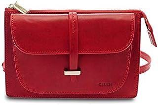 GIUDI ® - Borsa donna in vacchetta, tracolla, borsa a spalla, vera pelle, Made in Italy. (Rosso)