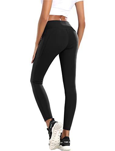 QueenDer Leggings Yoga Hosen Damen mit Tasche Trainings Strumpfhosen für Fitness (Schwarz, M)