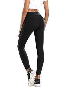 QueenDer Leggings Fitness Mujer Deporte Pantalones Largo Cintura Alta con Bolsillo Polainas Mallas para Yoga Running Cycling y Pilates (Negro, M)