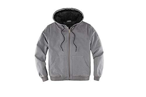 Men's Heavyweight Arctic-Quilt Lined Duck Canvas Work Jacket Zip Up Hooded Workwear Grey M