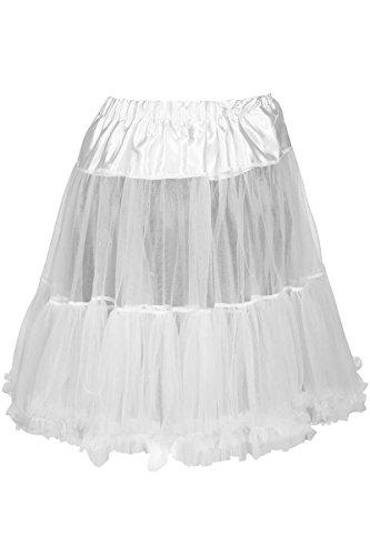 MarJo Damen Dirndl Unterrock Petticoat weiß 55cm, weiß, M