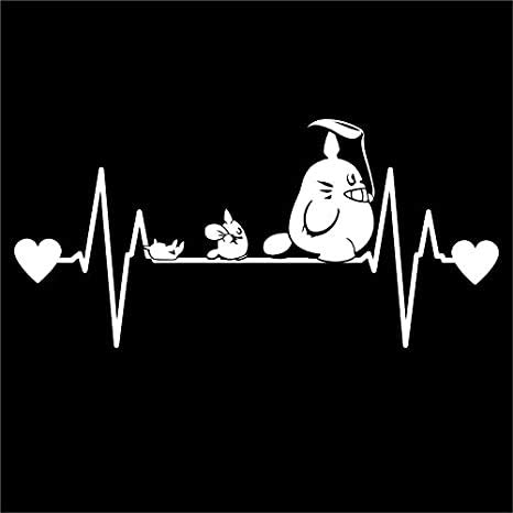 Silhouette Decals-Totoro Inspired Heartbeat Decal Sticker| 7 inch by 3.4 inch|White