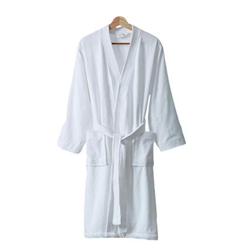 Dongxiao Albornoz Mujeres Kimono Robas Fluffy Suave Unisex Albornoz Invierno Cálido de Algodón Vestido Salón (Color : White, tamaño : X-Large)