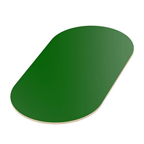 AUPROTEC Tischplatte 18mm grün 1400 mm x 700 mm ovale Multiplexplatte melaminbeschichtet von 40cm-200cm auswählbar Birken-Sperrholzplatten Massiv Holz Industriequalität Auswahl: 140x70 cm