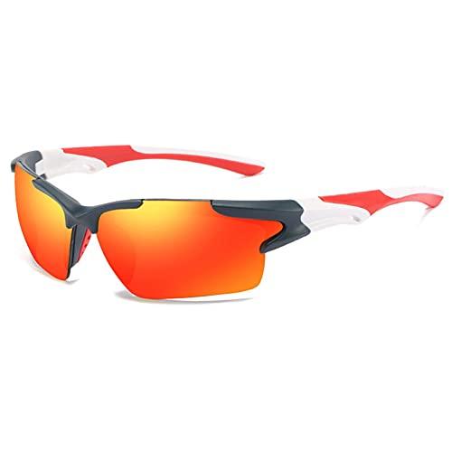 JTXQSI Hombres Espejo Gafas De Sol Rojas Marco Negro Gafas Deportivas Mujeres Ciclismo UV400 Unisex Bicicleta Paseos 2021 Gafas De Sol (Color : 5 Blue Red)