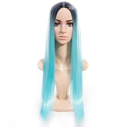 Scra AC Peluca de la señora europea y degradado talla larga recta peluca de pelo sintético encaje frente peluca
