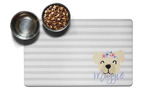 The Navy Knot Personalized Large Pet Mat | Two Sizes | Dog Placemat | Dog Food Mat | Pet Placemat | Pet Food Mat | Personalized Pet Placemat | Fabric Placemat (10 x 16, Floral Dog - Yellow Dog)