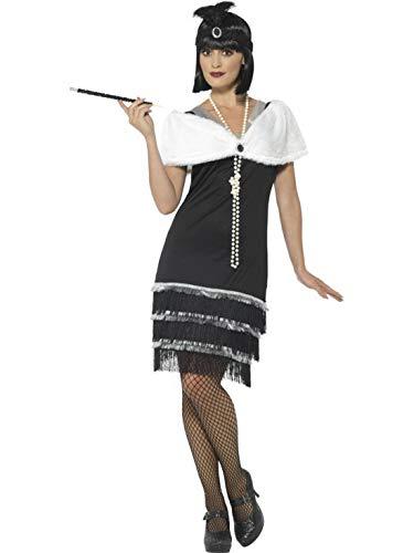 Luxuspiraten - Damen Frauen Flapper Kostüm im 20er Jahre Charleston Stil mit kurzem Kleid, Feder-Kopfschmuck und Stola, perfekt für Karneval, Fasching und Fastnacht, L, Schwarz
