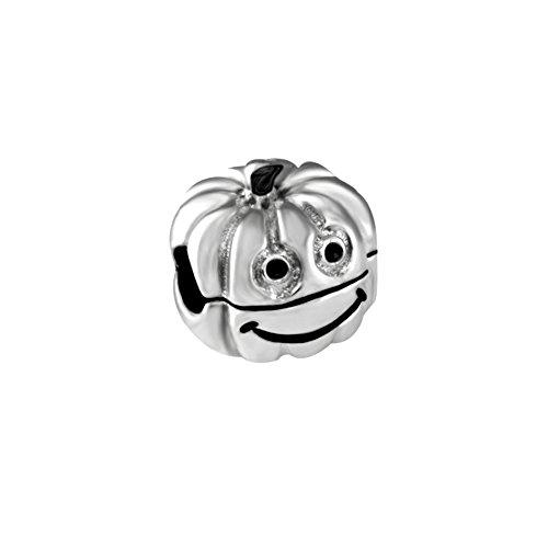 Quiges 925 Sterling Silber 3D Smiley Halloween Kürbis Bügelverschluss Stopper Charm Bead