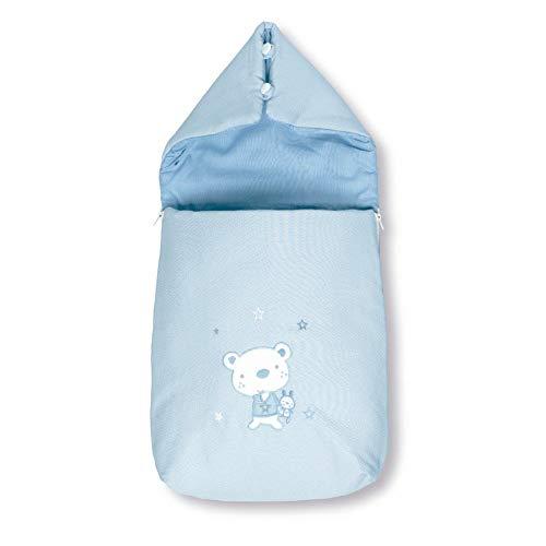 Pirulos 37013013 - Saco recién nacido, diseño osito star, algodón, 37 x 75 x 5 cm, color blanco y azul