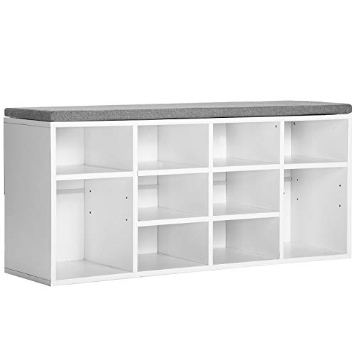 Merax Wooden Shoe Bench Storage White Shoe Cabinet Rack Cabinet Organiser with Seat Cushion for Hallway Dimensions W 104 x D 30 x H 48 cm 10 Gitter White