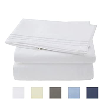 Bed Sheet Set - Brushed Microfiber 1800 Bedding 4 Piece 105 GSM -Wrinkle, Fade, Stain Resistant ,Hypoallergenic (White, Queen)